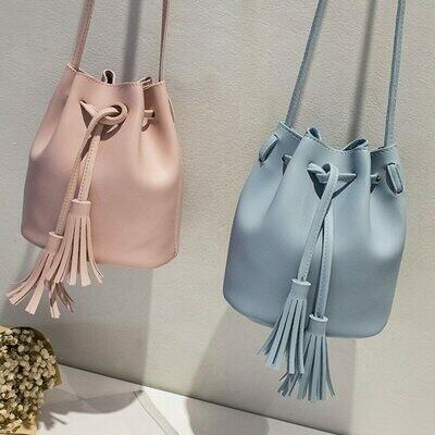 Shoulder Handbags Bucket-Bag Vintage Crossbody-Bags Messenger Drawstring Female Tassel