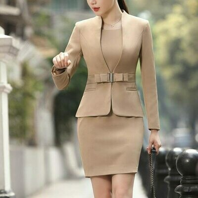 Jacket Wear Two-Piece-Set Formal Suits Blazer Dress Business Office Elegant Plus-Size
