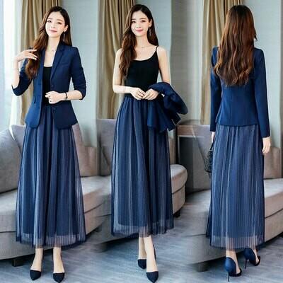 Blazer Women Suits Mesh-Dress Office-Sets Elegant New YASUGUOJI with Slim 2piece Fall