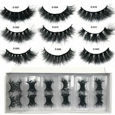 Mink-Lashes Short Real-Mink-Hair Bulk Pairs Red Siren Fluffy Wispy 10-50 Wholesale