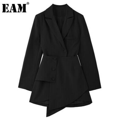 Split-Joint Button-Dress Spring Irregular Fit-Fashion Long-Sleeve Women Black EAM Autumn