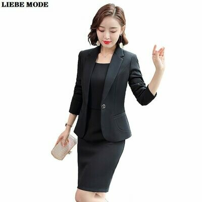 Blazer Dress Suits Jacket-Set Office-Wear Business Formal-Work Womens Black Green Purple