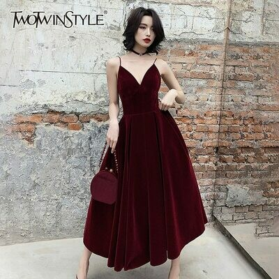TWOTWINSTYLE Summer Backless Dress For Women V Neck Spaghetti Strap Sleeveless High Waist