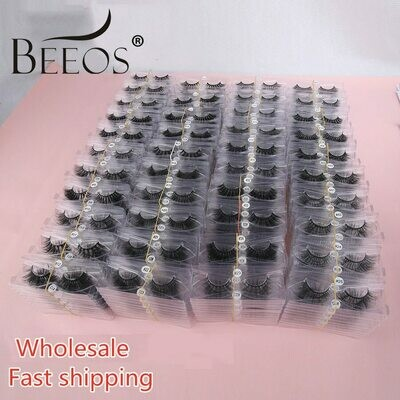 Eyelash-Extension-Tools Mink-Lashes Fluffy-Lash Make-Up Bulk Faux Beauty Wholesale 10/50/100-pairs
