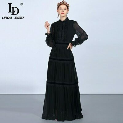 Maxi-Dresses Lace Long-Sleeve DELLA Fashion Runway Ruffles Vintage Black Women's LD Patchwork