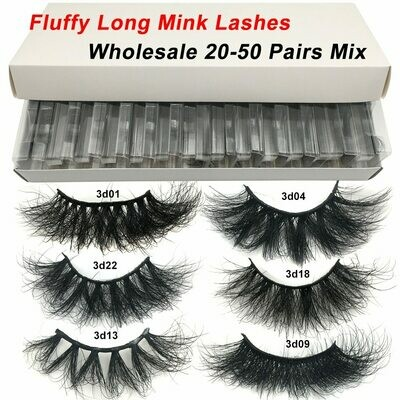 Fluffy Lashes Makeup Red Siren 20-50-Pairs In-Bulk-Dramatic Long Wholesale 25mm 3d