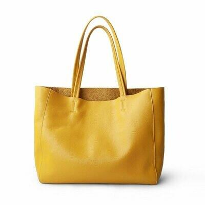 Shoulder Handbag Tote Lemon Yellow Genuine-Leather Women Luxury Bag Casual Fashion Lady