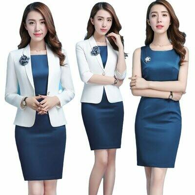 Dresses Blazer Office-Wear Formal Suit-Set Jacket Work Plus-Size Women Ladies with Evening-Elegant