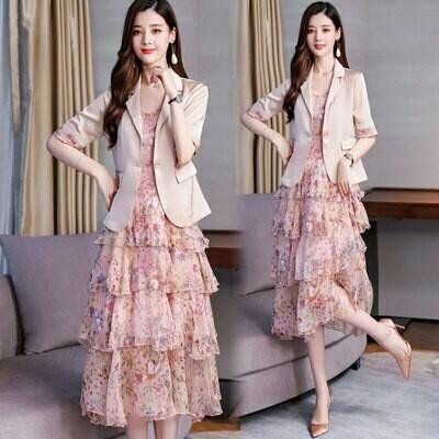 Blazer Dress Ruffle Suits Office 2piece-Set Elegant Women for Lady F2 Spring Cascading