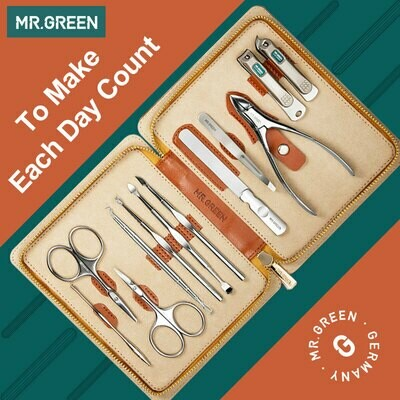 Nail-Clippers Gift-Set Mr.green-Nail-Set Pedicure Stainless-Steel Professional with Holster