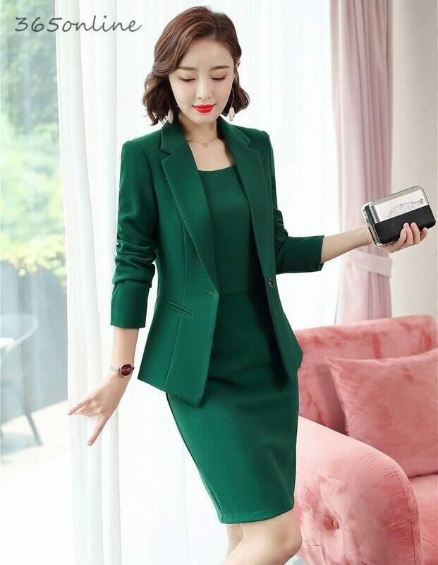 Dress-Suits Blazers-Set Coat Jackets Work-Wear Office 2piece-Set Formall Women Ladies