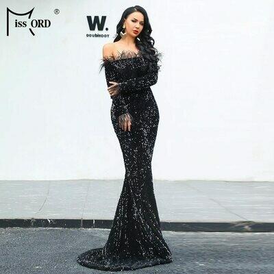 Reflective Dress Maxi Sequin Vestdios Long-Sleeve Party Sexy Off-Shoulder Evening Floor-Length