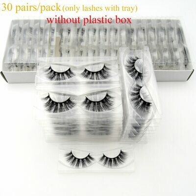 Mink-Eyelashes Tray Natural Visofree Full-Strip with No-Box Handmade Reusable 30/40/100/pairs