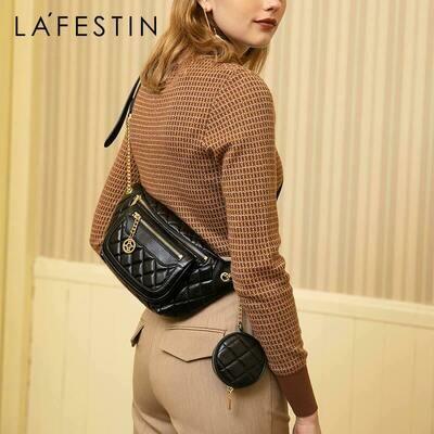 Bag Ladies Wallet Crossbody-Bag La Festin Black Small Moon-Shape