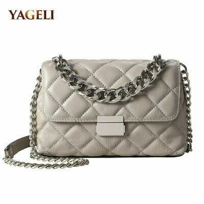 Shoulder-Bags Chain Design Genuine-Leather Women Luxury Fashion for Brand Lady