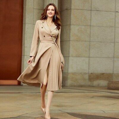 Women Dress Office Casual-Suit New Long with Belt A-Line Female V-Neck Asymmetrical Slim