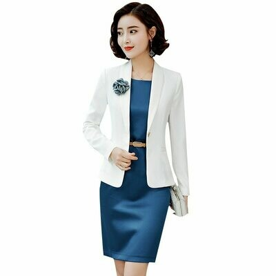 Suit Blazers Dress Coat Work Office Elegant Women Spring Casual White Fashion Full Slim