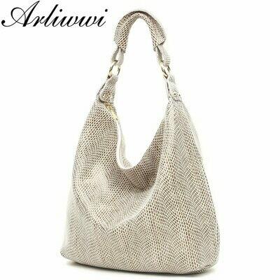 Shoulder-Bags Embossed Skin-Big-Bag Serpentine Arliwwi Shiny Real-Snake 100%Genuine-Leather