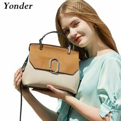 Handbag Shoulder-Crossbody-Bags Purse Black Elegant Genuine-Leather Messenger-Bag Fashion