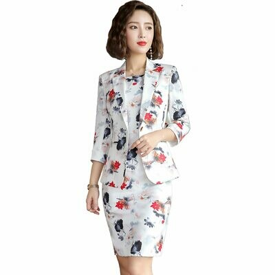 Suit Women Blazers 3/4-Sleeve Coat Dress Work Office Elegant Spring Fashion Casual Flowers