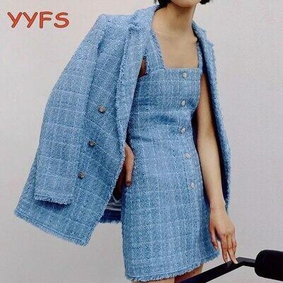 Blazers Dress Women Chic-Suits Elegant Blue Casual Tweed Vintage Loose-Set Sling Streetwear