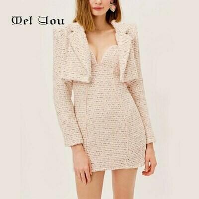 Short Dress Long-Sleeve Women's Jacket Suit with Suspender Mini/Dress/Met078 Texture