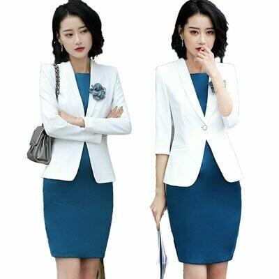 Blazer Women Evening Dresses Suit-Set Jacket Office-Wear Work Elegant Ladies with