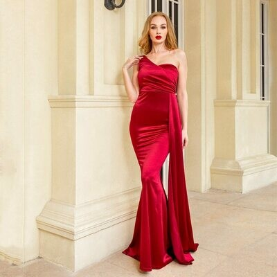 Maxi Dress Gown Ribbon Draped Evening-Party-Dress One-Shoulder padded Sexy Satin Royal-Blue