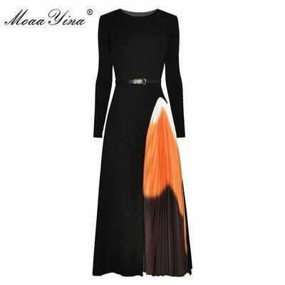 Dress Spring Moaayina Knitting Long-Sleeve Patchwork Autumn Fashion-Designer Sashes