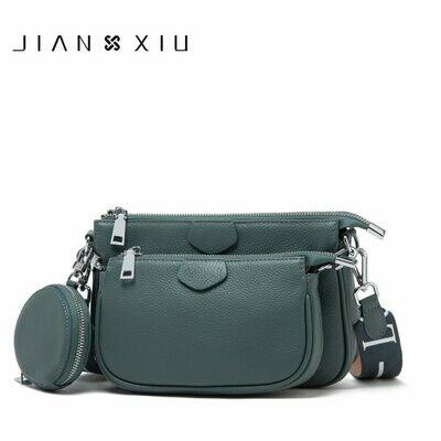 Purse Shoulder-Bag Clutch Genuine-Leather Brand Women Tote Lychee JIANXIU Soft Three-Piece