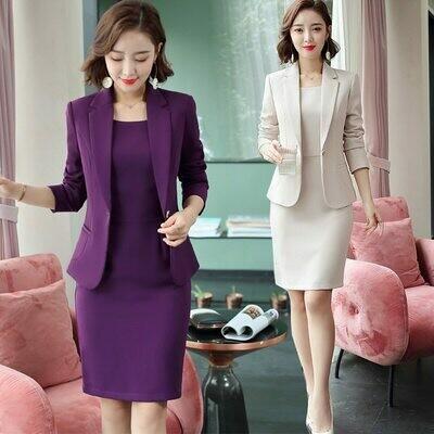 Suit Dresses Office-Wear Business Plus-Size Women Jacket Elegant Ladies Purple Long-Sleeve