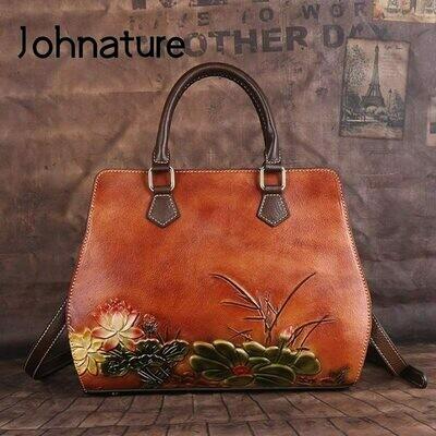 Women Bag Handbag Embossing-Shoulder-Bags First-Layer Large-Capacity Vintage Johnature