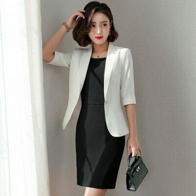 Suit Blazers Dress Coat Work Office Women Spring Casual Fashion Green Purple Mid-Sleeve
