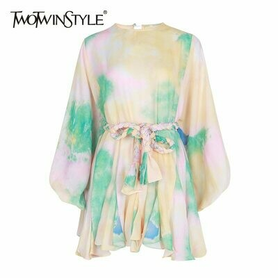 Female Dress Hit TWOTWINSTYLE Spring Lace-Up Long-Sleeve Color High-Waist Casual Fashion