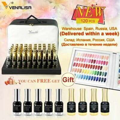 120pcs*12ml VENALISA Gel Varnish Lacquer Color Palette for Nail Salon Shining Glitter