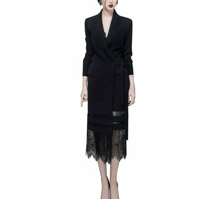 Suit Dress Outfits Formal Women Black Long Lace Turn-Down-Collar Patchwork Female