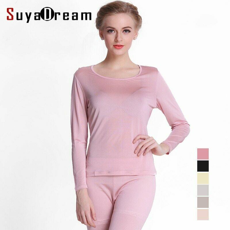 100%Natural SILK Women long johns Health silk Intimates suit Long sleeve Round collar Underwear Healthy sleep wear 2020 New