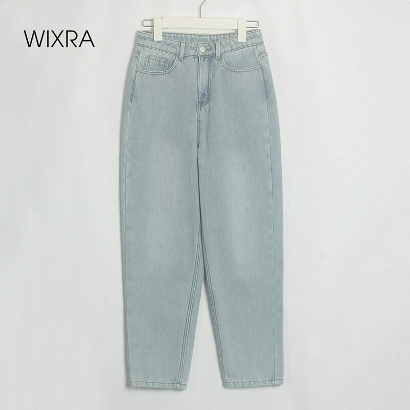 Wixra Stylish Denim Pants Female High Waist Jeans With Fur BF Casual Button Trousers Womens Streetwear Autumn Winter