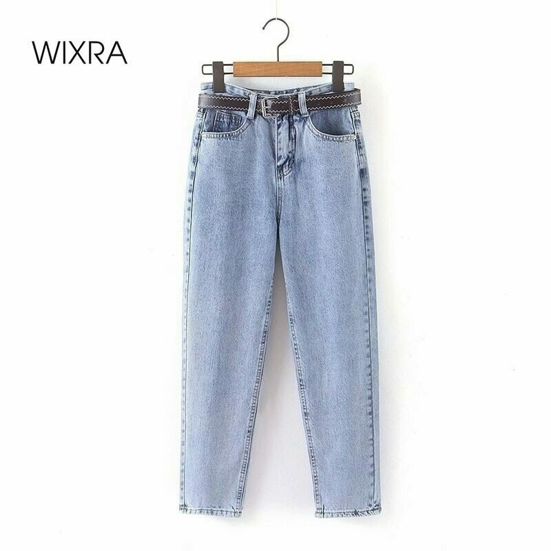 Wixra Womens Demin Pants With Sashes Streetwear Casual High Waist Loose Denim Jeans Buttons Pockets Femme Spring Autumn