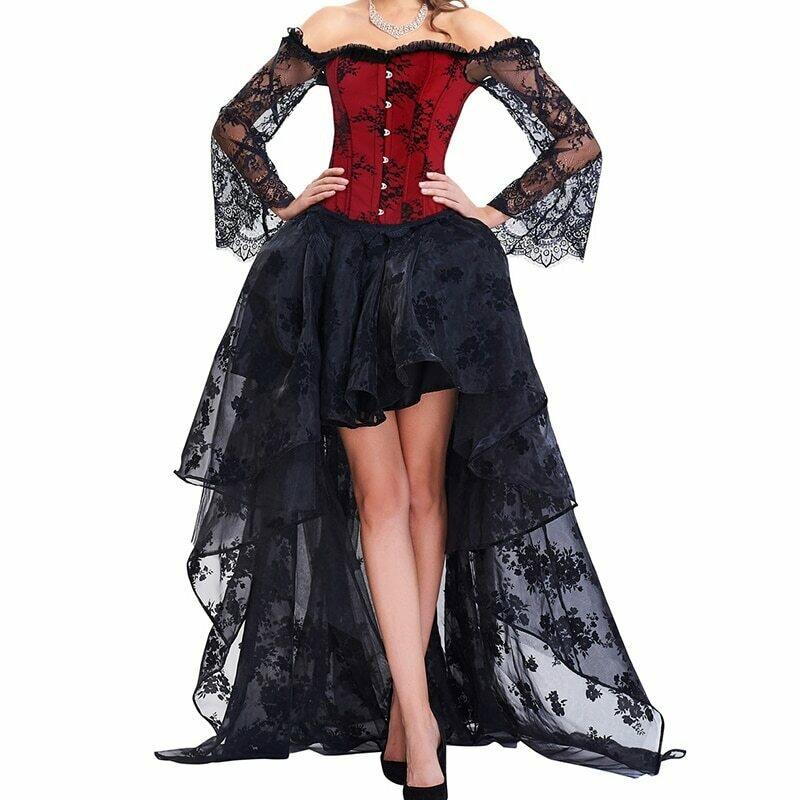 Steampunk Corset Dress Bustier Gothic Corselet Sexy Corsets Women Lace Off Shoulder Floral Party Hot Long Dresses Top Skirts Set