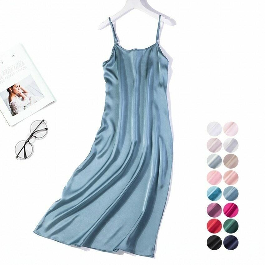 Women's 100% Pure Heavy Silk Long Chemise Nightgown Nightdress Sleepwear adjustable spaghetti straps JN195