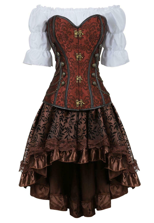 corset skirt 3 piece leather dress bustiers corset steampunk pirate lingerie corsetto irregular burlesque plus size black brown