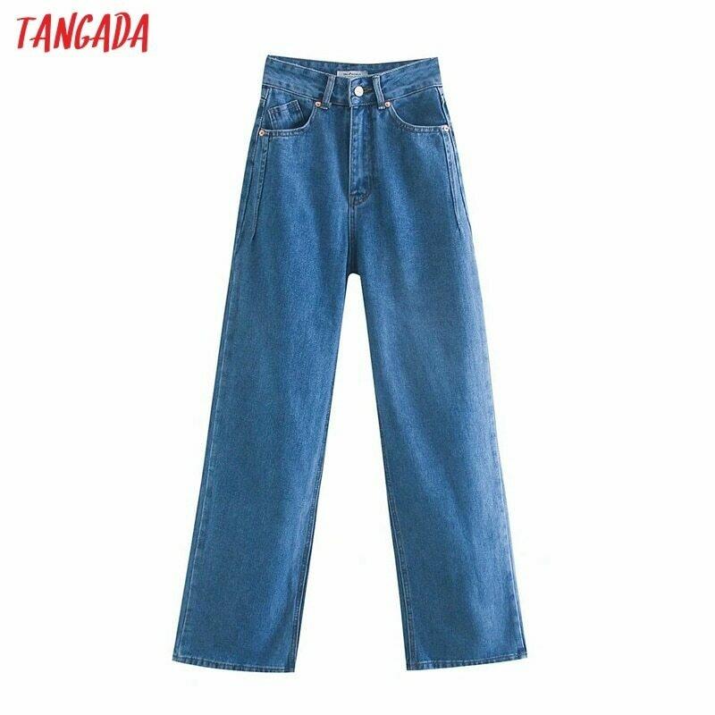 Tangada 2020 women high waist overlength jeans pants trousers pockets zipper female wide leg denim pants 4M520