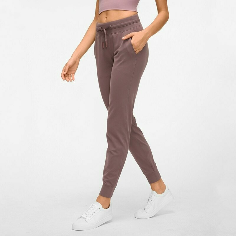 NWT Waist Drawstring  Pants Fitness Women Sweatpants with Two Side Pockets 4-Way Stretch Leggings Lady Stretchy Pants