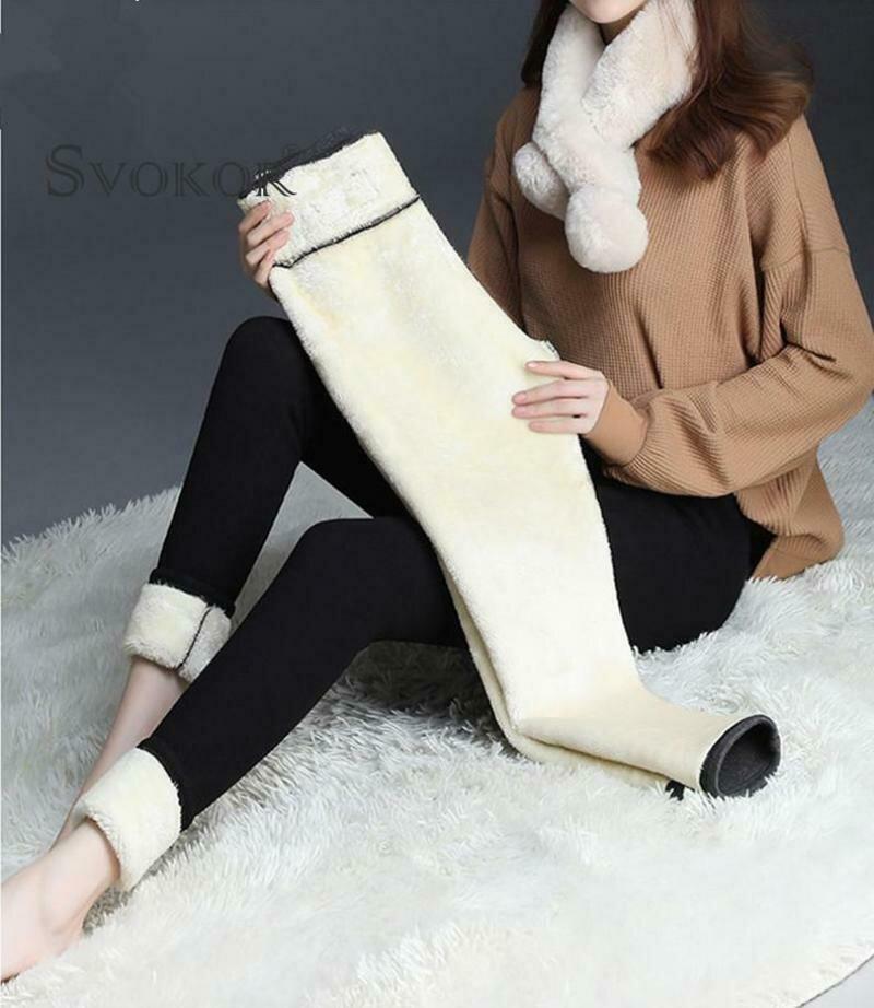 SVOKOR Winter Warm Leggings For Women Velvet Leggings Cold-resistant Plus Velvet Black Pants Winter Clothes