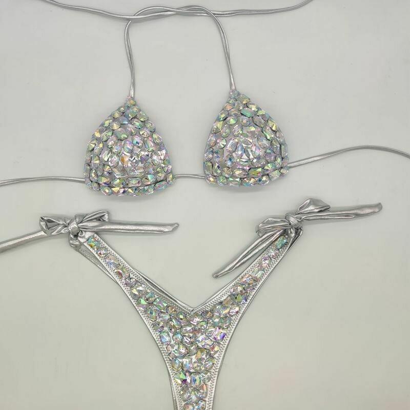 2020 venus vacation new style diamond bikini set bandage open swimwear push up rhinestone bling stones swimsuit sexy women swim