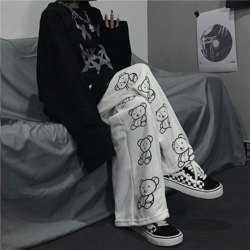 HOUZHOU Korean Style Wide Leg Pants Cartoon Print Harajuku Trousers Women Streetwear Autumn Fashion Streetwear Sweatpants Women