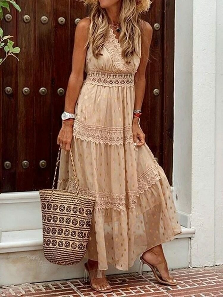 Vacation Dress Gold Polka Dot Women Beach Dress Chiffon Swim Suit Cover Up Capes Outing Sarong Tunics Lady Holiday Beachwear