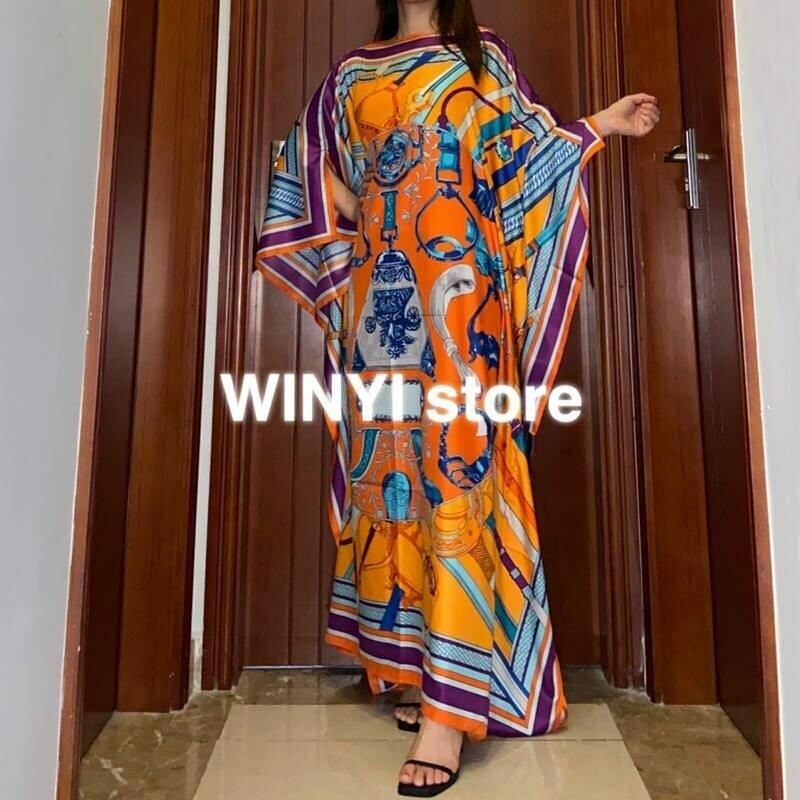 Kuwait Dashiki Dress Print Bohemia Hijab Loose Elegant Muslim Abaya Bazin Robe Gowns Broder Riche Sexy Lady Party maxi beach