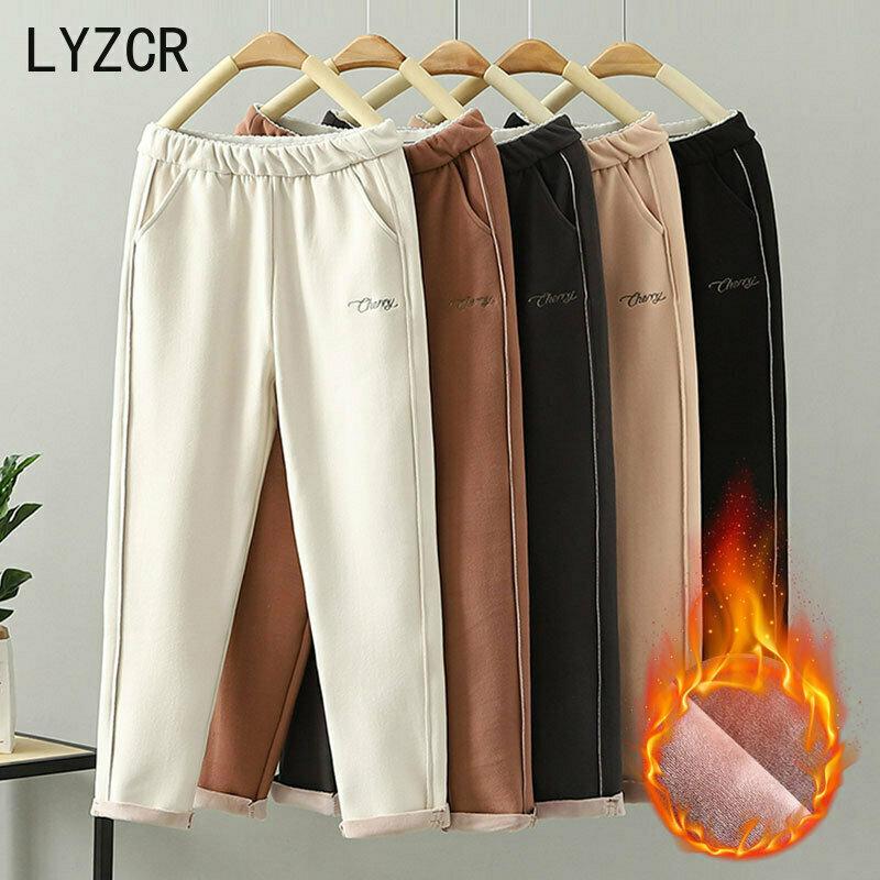 LYZCR Woolen Women Winter Pants Thick Warm Vintage Autumn Thicken Feleece Trousers Harem Pants For Women Velvet Pants Capris
